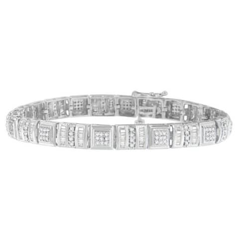 10K White Gold 2 ct. TDW Round and Baguette Cut Diamond Bracelet (H-I,I2-I3)