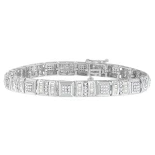 10k White Gold 2ct TDW Round and Baguette Cut Diamond Bracelet