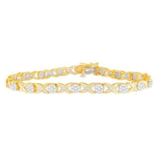 10K Yellow Gold 1ct TDW Round and Baguette Diamond Tennis Bracelet