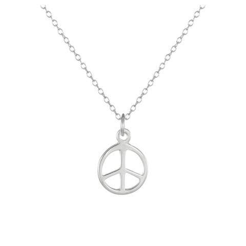 Handmade Jewelry by Dawn Small Peace Sign Sterling Silver Cable Chain Necklace (USA)