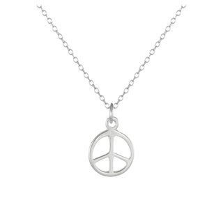 Jewelry by Dawn Small Peace Sign Sterling Silver Cable Chain Necklace