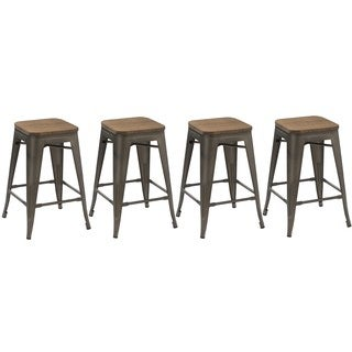 Insdustrial Stackable Rustic Distressed 24-inch Steel Counter Barstool with Wood Seat (Set of 4)