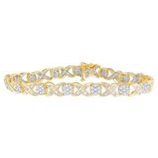 10K Yellow Gold 3ct TDW Round and Baguette Diamond Tennis Bracelet (J-K, I1-I2)