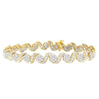 10K Yellow Gold 4ct TDW Round and Baguette Diamond Tennis Bracelet (J-K, I2-I3)