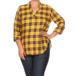 Women's Multicolor Plaid Rayon Plus-size Mandarin Top
