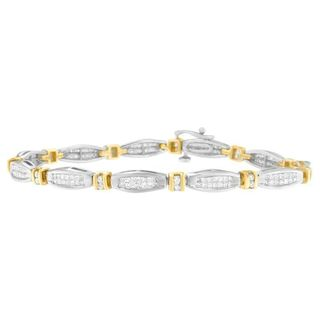 14K Two-Tone Gold 2ct TDW Princess and Round Diamond Tennis Bracelet (H-I, SI2-SI1)