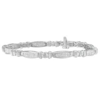 14k White Gold 2ct TDW Princess and Baguette Cut Diamond Bracelet (H-I, I1-I2)
