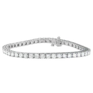 14k White Gold 6ct TDW Round Cut Diamond Bracelet (H-I, SI2-I1)