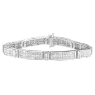 14k White Gold 7ct TDW Princess and Baguette Cut Diamond Bracelet (H-I, I1-I2)