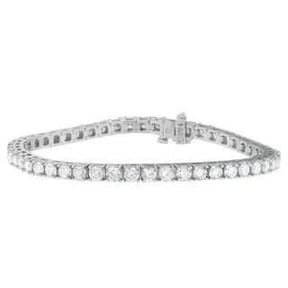 14k White Gold 8ct TDW Round Cut Diamond Bracelet