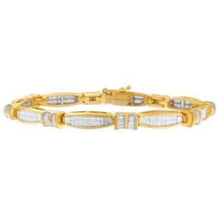 14k Yellow Gold 3ct TDW Baguette and Princess Cut Diamond Bracelet (H-I, SI1-SI2)