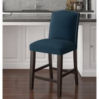 Skyline Furniture Nail Button Counter Stool in Microsuede Navy
