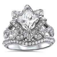 Noori 14k Gold 2 1/10ct TDW Princess-cut Diamond Enhanced Lotus Flower Engagement Ring - White