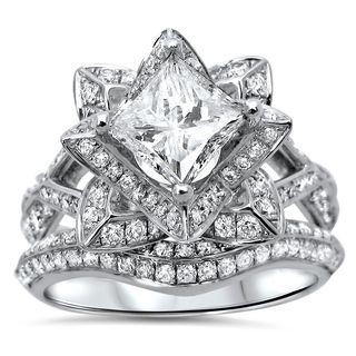 Noori 14k Gold 2 1/10ct TDW Princess-cut Diamond Enhanced Lotus Flower Engagement Ring - White (More options available)