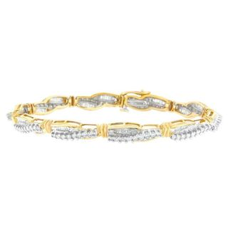 14k Yellow Gold 3ct TDW Baguette and Round Cut Diamond Bracelet (H-I, SI1-SI2)