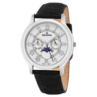 Grovana Men's 1025.1533 White Dial Black Leather Strap Day Date Moon phase Swiss Quartz Watch