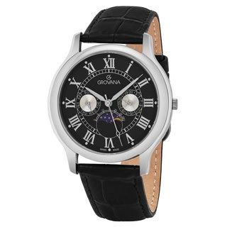 Grovana Men's 1025.1537 Black Dial Black Leather Strap Day Date Moon phase Swiss Quartz Watch