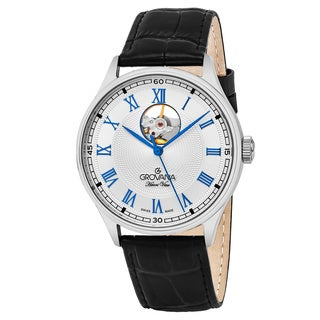Grovana Men's 1190.2582 'Classic' Silver Dial Black Leather Strap Swiss Automatic Watch