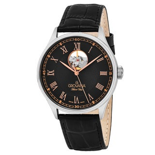 Grovana Men's 1190.2584 'Classic' Black Dial Black Leather Strap Swiss Automatic Watch