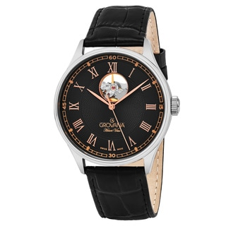 Grovana Men's 1190.2584 'Classic' Black Dial Black Leather Strap Swiss Automatic Watch