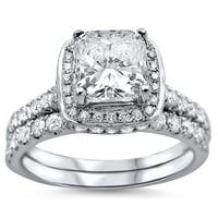 Noori 18k White Gold 1 5/8ct TDW Cushion-cut Diamond Clarity Enhanced Bridal Ring Set