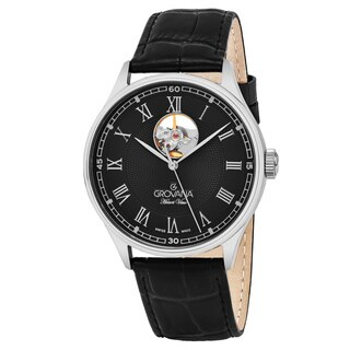 Grovana Men's 1190.2587 'Classic' Black Dial Black Leather Strap Swiss Automatic Watch