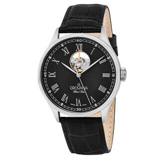 Grovana Men's 1190.2587 'Classic' Black Dial Black Leather Strap Swiss Automatic Watch