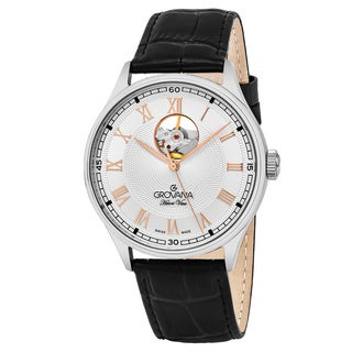 Grovana Men's 1190.2588 'Classic' Silver Dial Black Leather Strap Swiss Automatic Watch