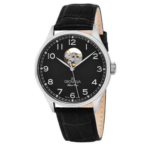 Grovana Men's 'Classic' Black Dial Black Leather Strap Swiss Automatic Watch