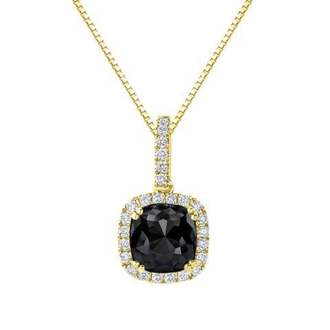 Auriya 3 1/4ctw Cushion-cut Halo Black Diamond Necklace 14k Gold