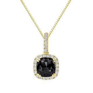 Auriya 14k Gold 3 1/4ct TDW Cushion Cut Black Diamond Halo Necklace (H-I, SI1-SI2)