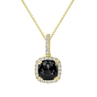 Auriya 14k Gold 3 1/4ct TDW Cushion-Cut Halo Black Diamond Necklace