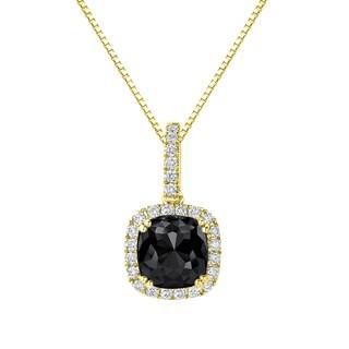 Auriya 14k Gold 3 1/4ct TDW Cushion-Cut Black Diamond Halo Necklace