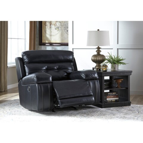 Signature Design by Ashley Graford Navy Power Recliner with Adjustable Headrest