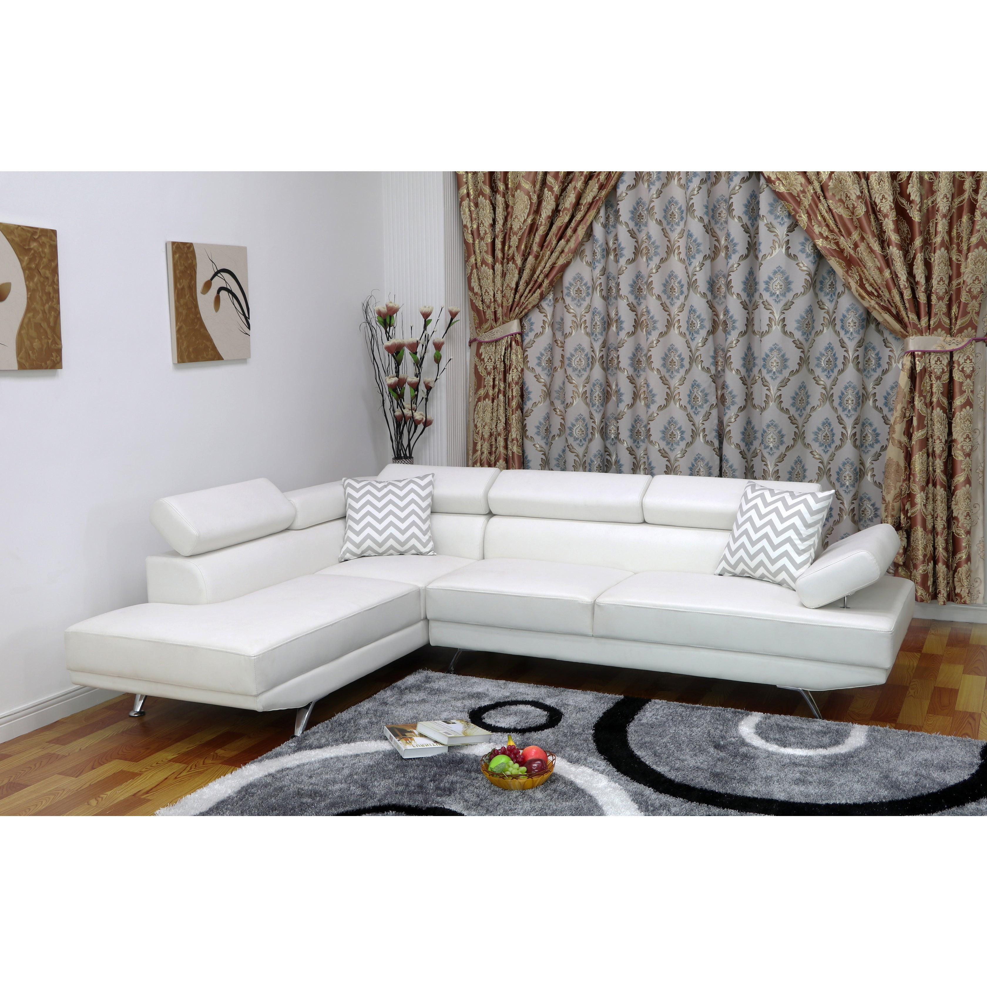 Whitley Modern Faux Leather Left-Facing Chaise Sectional Sofa   eBay