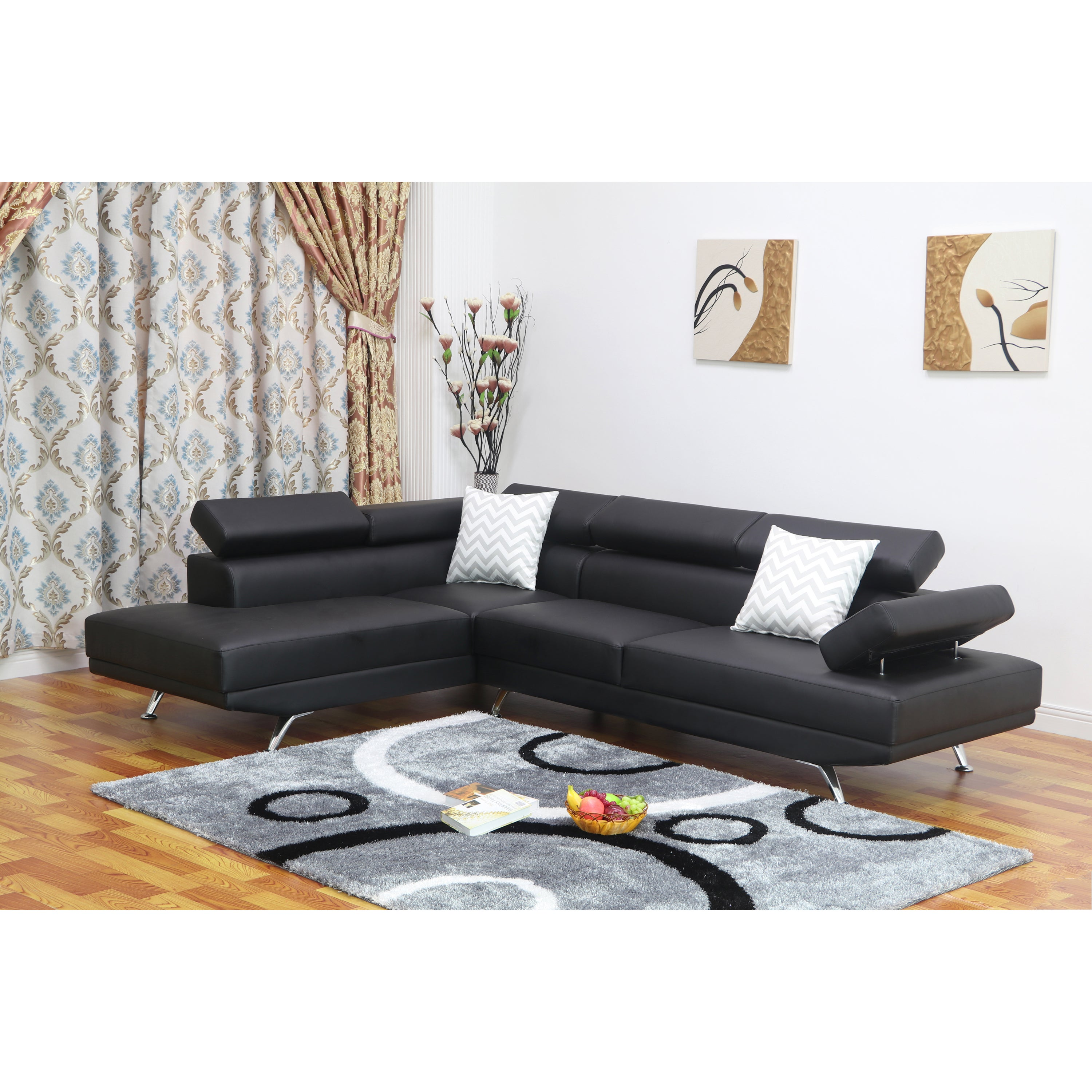 Whitley Modern Faux Leather Left-Facing Chaise Sectional Sofa - Free ...