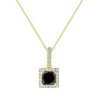 Auriya 14k Gold 1 1/4ct TDW Princess Cut Black Diamond Halo Necklace