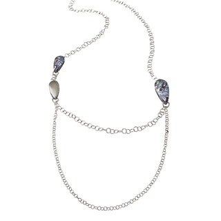 Ever One Sterling Silver Blue-print Station Necklace