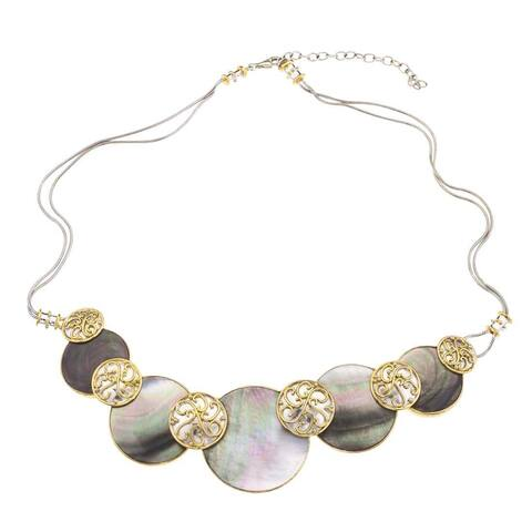 Ever One Silver and Black Mother of Pearl Necklace