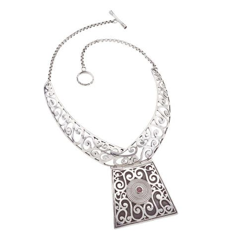 Ever One Oxidized Sterling Silver and Garnet Collar Necklace - White