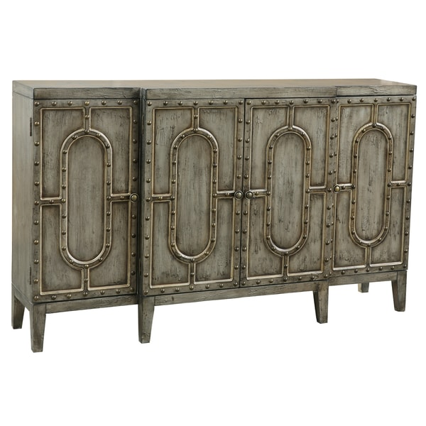 Hand Painted Distressed Sage Green Finish Bar And Wine Cabinet