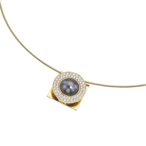 18k Yellow Gold Interchangeable Pearl and 3/4ct TDW Diamond Pendant (H-I, I1-I2) - Black