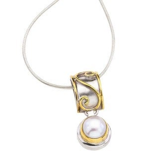 Sterling Silver, Gold & Pearl Pendant Necklace