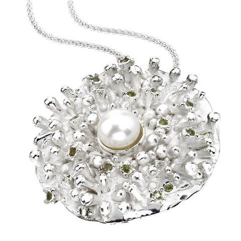 Ever One Sterling Silver Peridot Pearl Pendant