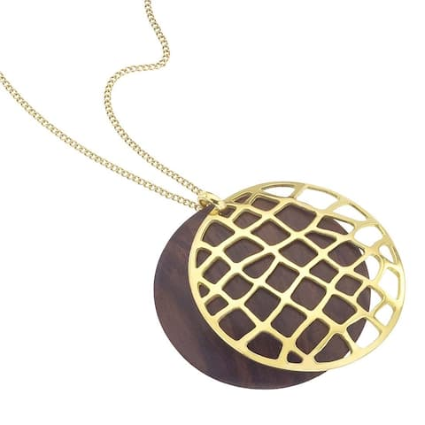 Ever One 18k Yellow Gold Vermeil and Rosewood Web Pendant