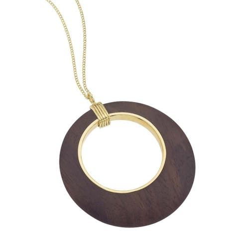 Ever One 18k Yellow Gold-plated Vermeil Silver Rosewood Cutout Pendant Necklace