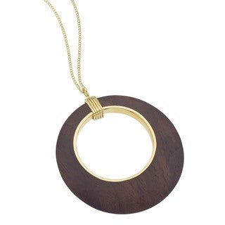 Ever One Yellow Gold-Plated Vermeil Silver Rosewood Cutout Pendant Necklace