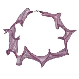 Titanium 32-inch Fuschia Mesh Necklace - Purple