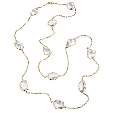 Ever One 18k Yellow Gold Vermeil and Quartz 36-inch Long Necklace - White