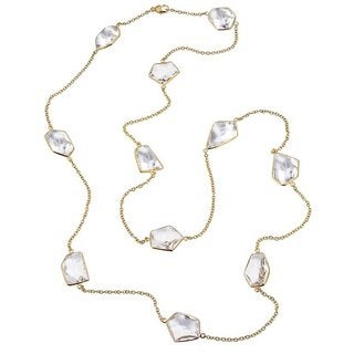 Ever One 18k Yellow Gold Vermeil and Quartz 36-inch Long Necklace